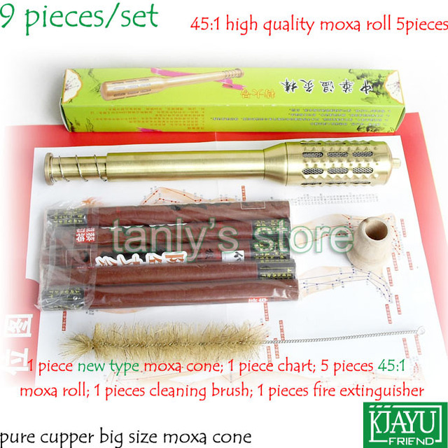 Pure Cupper Big Size Body Moxibustion Device / Moxa cone health beauty face tool 9pieces/set (45:1 moxa roll)