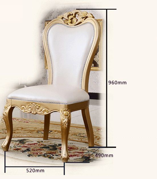 Gold Dining Chairs Childs Wooden Chair New Champagne European Solid Wood Room Furniture French Leather Art Hk02