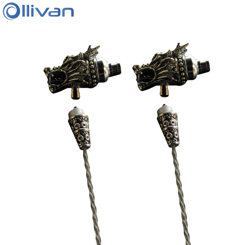 купить Ollivan Dragon Head MMCX Interface Earphone Metal Auriculares With Microphone In Ear Earbuds Domineering HIFI Headsets For Phone дешево