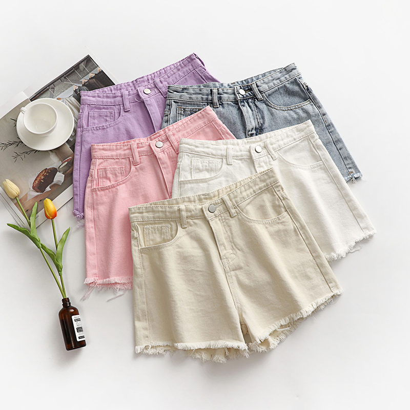 Summer Sweet Solid Ripped Denim Shorts Women High Waist Short <font><b>Jeans</b></font> Feminino Hole Pockets Pink <font><b>Violet</b></font> Tassel <font><b>Jeans</b></font> Short Femme