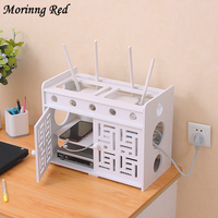 Wifi Router Receiving Box Punch Free Wire Socket Organizer Set Top Case Placement Frame Health Plastic Living Room Decoration