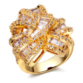 Fashion jewelry big Rings gold plated w/ cubic zircon finger Ring high quality party rings for women free shipment