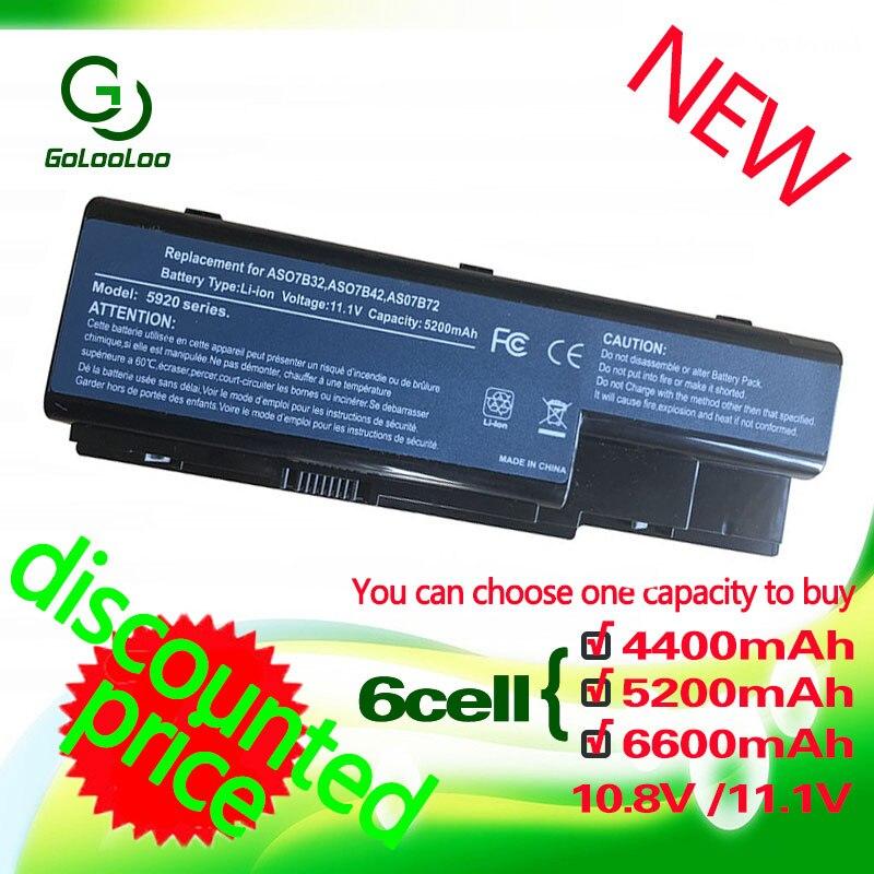 Golooloo 6 celdas de batería del ordenador portátil para Acer Aspire AS07B31 AS07B41 5920 de 5920G 5315G 5520G 6935G 6930 de 7330 AS07B42 AS07B51 AS07B72 JIGU batería del ordenador portátil para Acer AS07B31 AS07B32 AS07B41 AS07B42 AS07B51 AS07B52 AS07B71 AS07B72 AS07B31 AS07B51 AS07B61