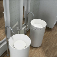 Free Shipping Bathroom Pedestal Washbasin Solid Surface Stone Counter Top Sink Delivey By Courier Service W9004