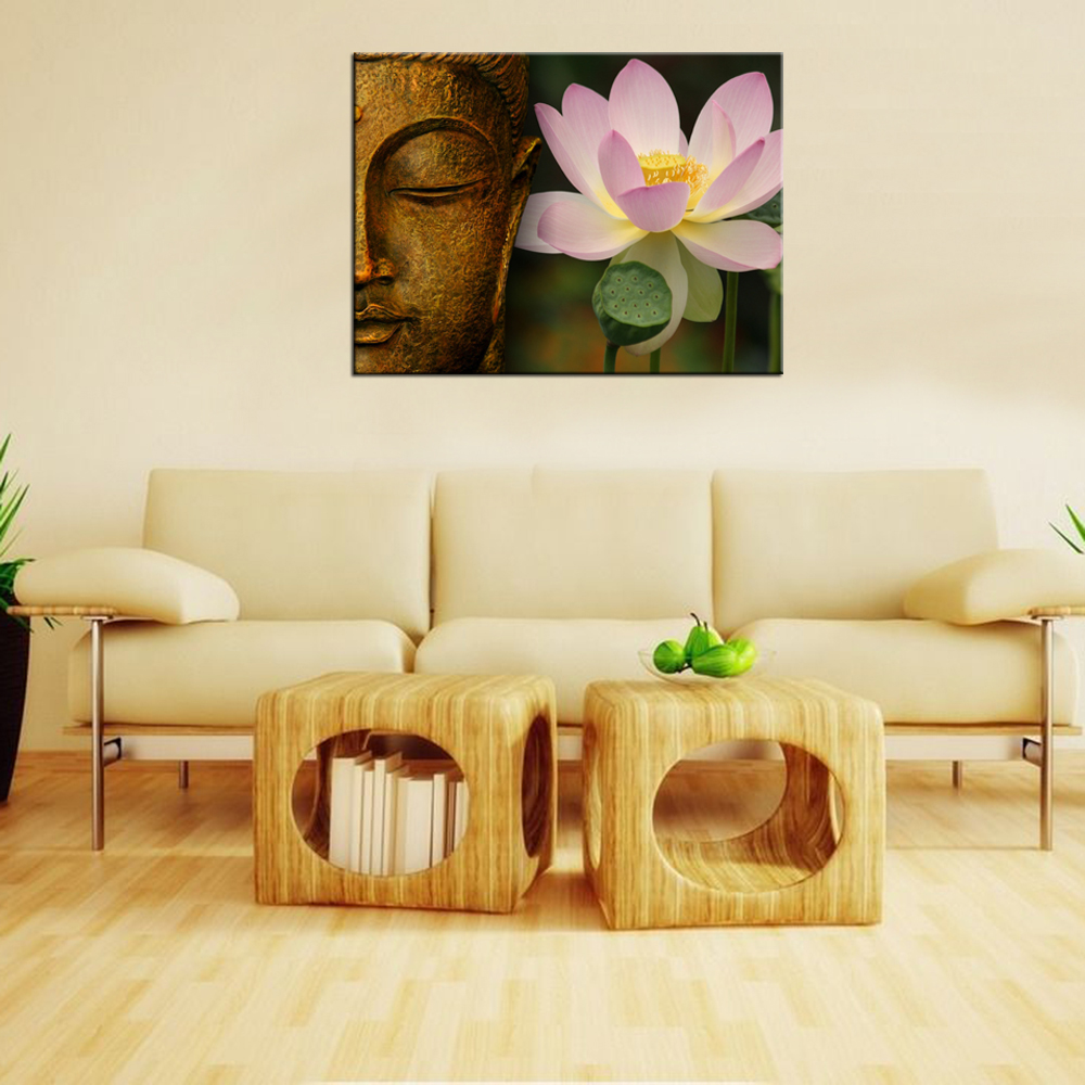 Canvas Prints Buddha Statue with Lotus Flower Wall Mural Home Decor ...