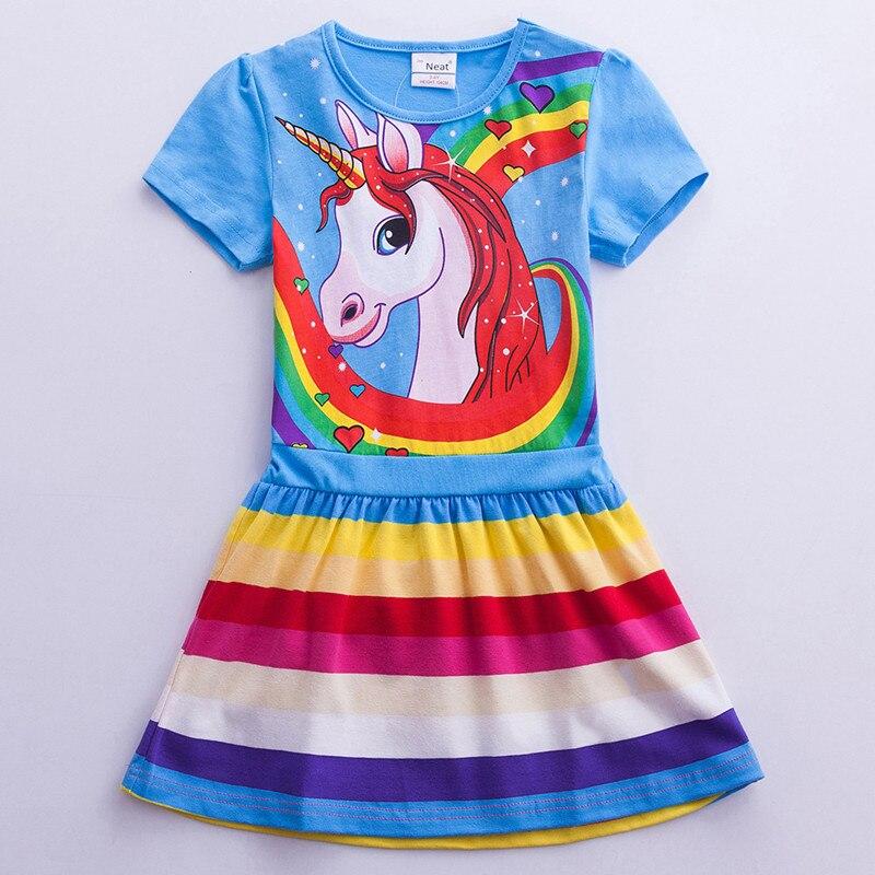 Girls Unicorn Dress Costume 2019 Summer Children Cotton Cartoon Rainbow Unicorn Dress Baby Girls Casual Dresses For Kids Clothes (10)