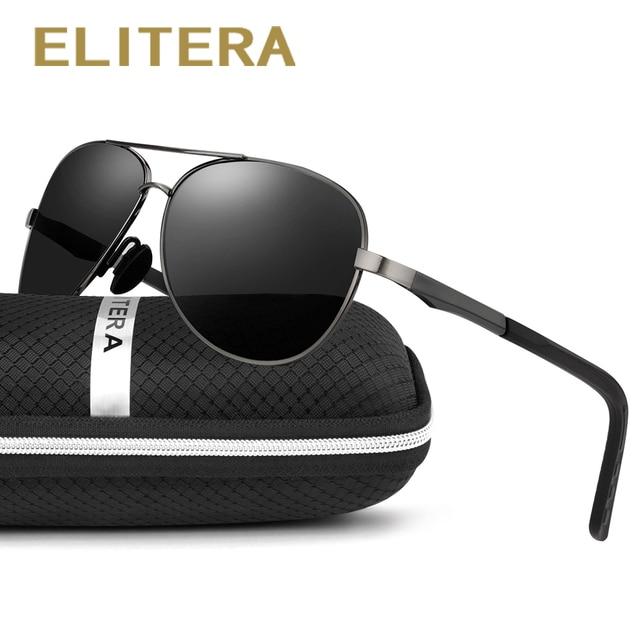 ELITERA Männer / Frauen Polarisierte Sonnenbrillen Aluminium Magnesium Legierung E210 (Schwarz&Dark GRÜN) LyAyzrJx