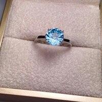 Natural de cristal ajustável anel hot sale MEDBOO emgagement 925 prata inlay topázio azul anel mão jóias para as mulheres aniversário