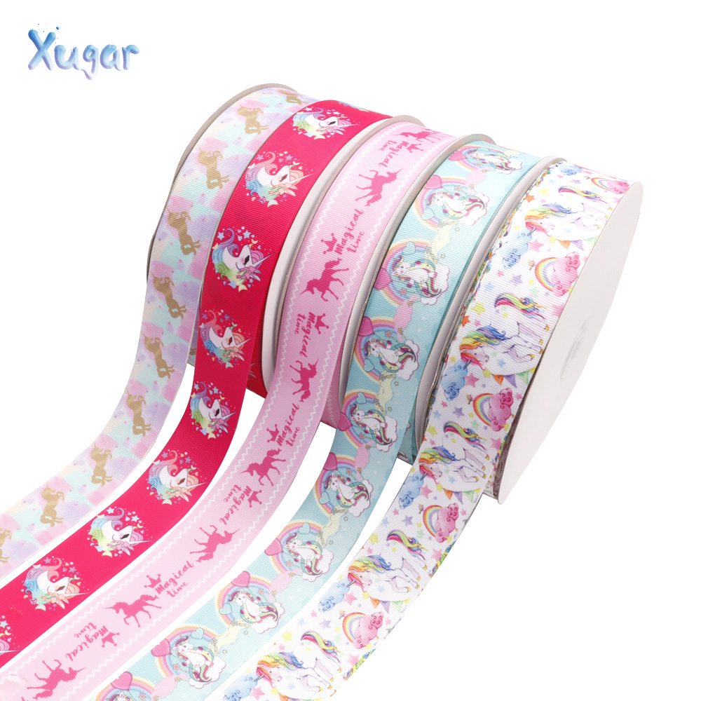 "Unicorn Rainbow Printed Ribbon Tape DIY Sewing Materials 38mm 5Yard//roll 1.5/"""