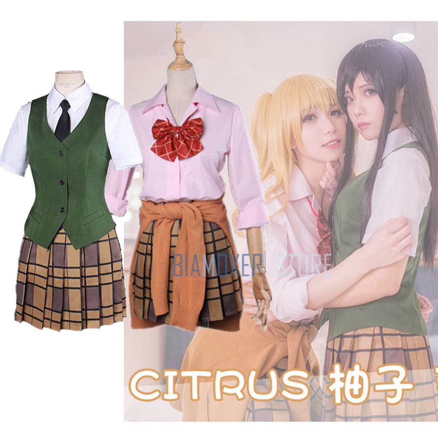Biamoxer Citrus Yuzu Aihara Mei School Uniform Outfit Green Plaid Skirt Blouse Cosplay Costume all set