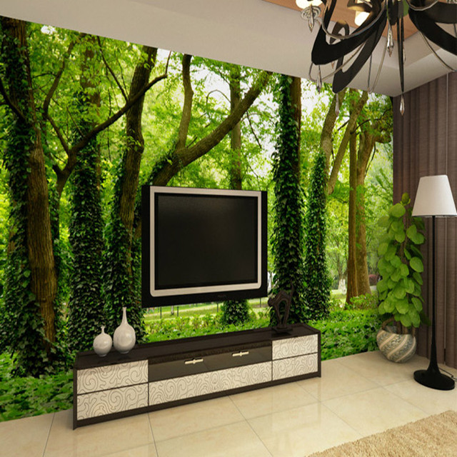 Custom photo mural wallpaper d green trees forest bedroom living room - Wallpaper living room modern ...