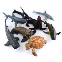 8 יח'\סט צלמיות בעלי החיים החיים צבי צעצועי דגם סט מיניאטורות צב ים סוס ים כריש דגי צעצוע ילדי דגם PVC פלסטיק #15