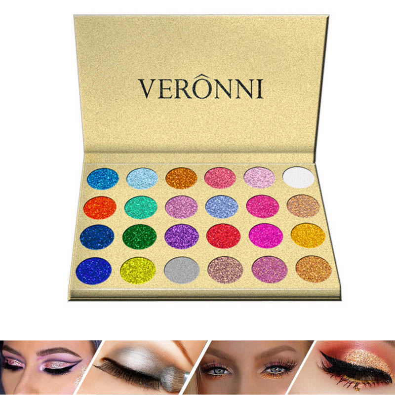 24 Colors Eyeshadow Palette Shiny Long Lasting Cosmetics Eyes Makeup Glitter Eye Shadow YF2018