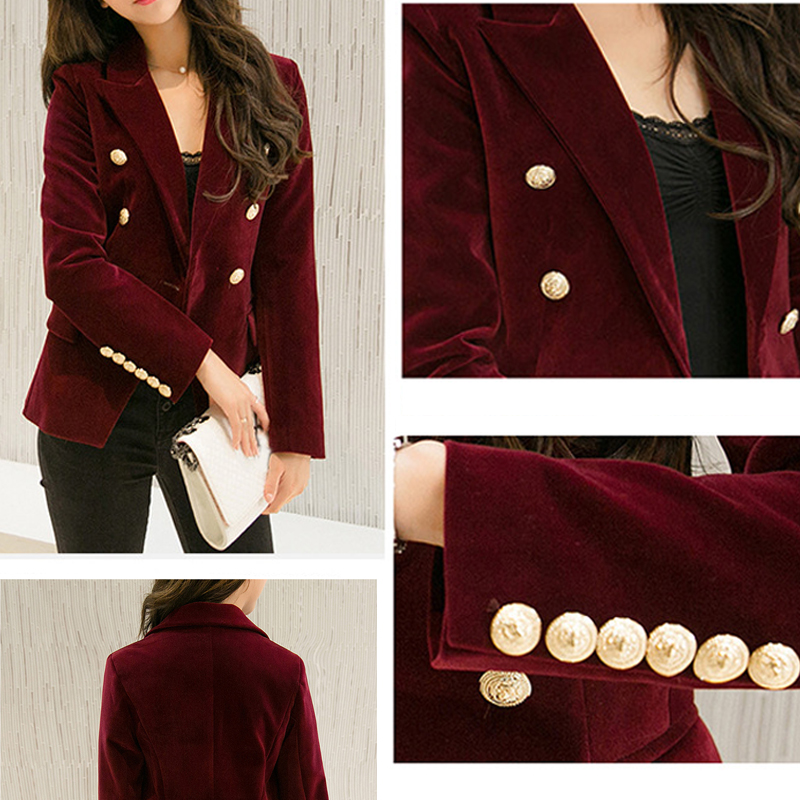Velvet Women's Jacket Blazer Coat Solid Double Breasted Office Blazer Women Long Sleeve Blazers Female Outwear Slim Work Suit
