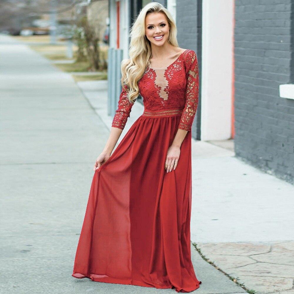 2018 blanc noir rouge marine dentelle Crochet quart manches Maxi robe de mode robe de soirée longue robe Club robe