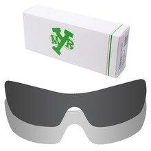 2 Pieces Mryok Anti-Scratch POLARIZED Replacement Lenses for Oakley Batwolf Sunglasses Lens Stealth Black & Silver Titanium