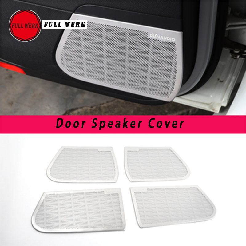 Set of 4 pcs Car Styling Door Speaker Cover Trim Sticker Stainless Steel Decor Protector for