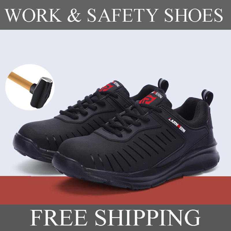 LARNMERN Safety Shoes For Men Steel Toe Cap Anti-smashing Security Shoes Construction Steel Anti Puncture Reflective Stripe
