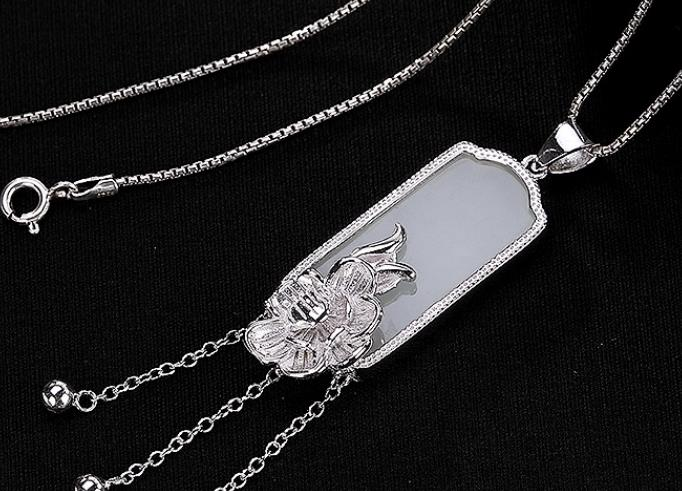 Sterling S925 925 silver Necklace Pendant tassels flower natural stone sweater chain 15*39MM