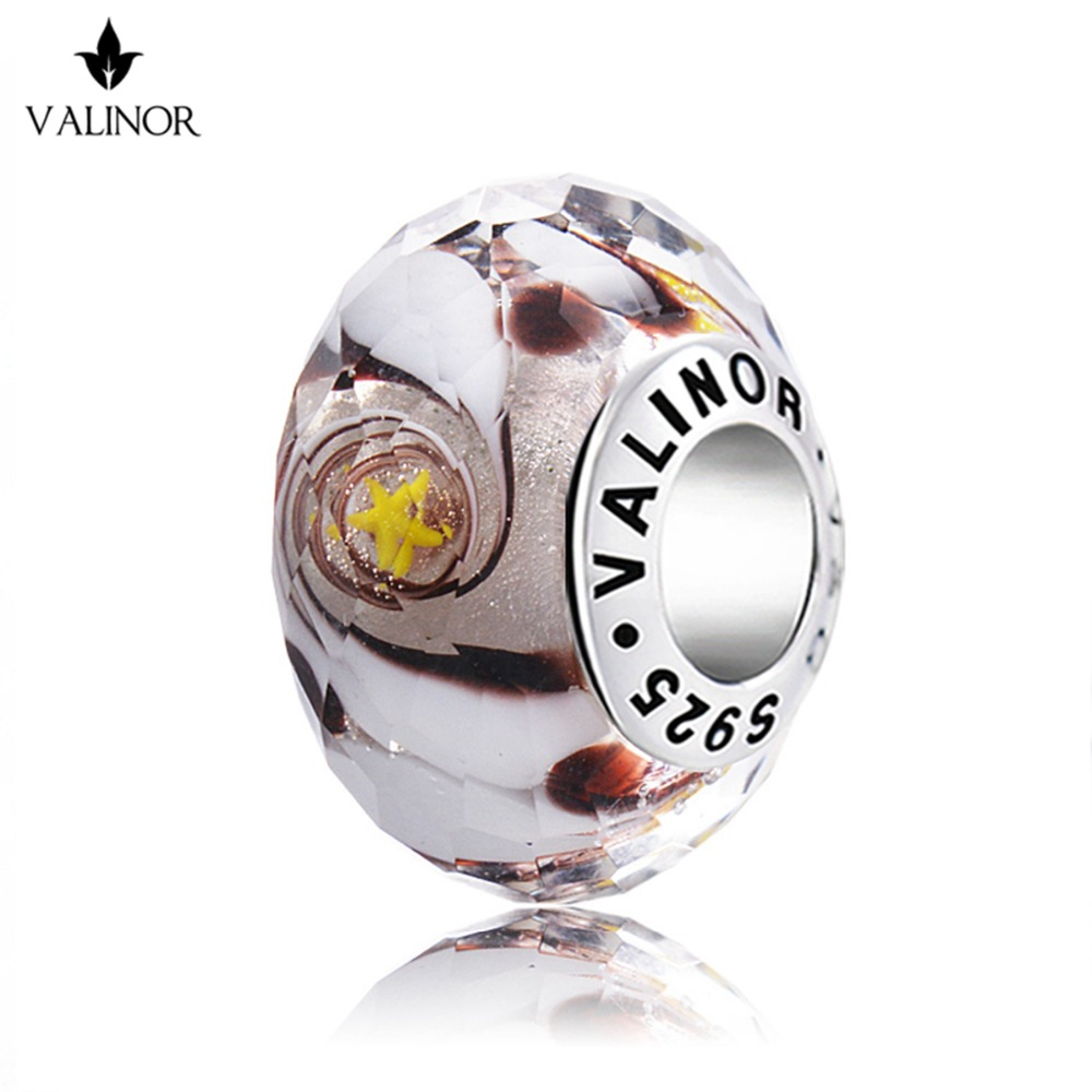 Crystal Star flying glass beads charms 925 Sterling Silver fit Bracelets & Bangles for Women Jewelry GCLL048