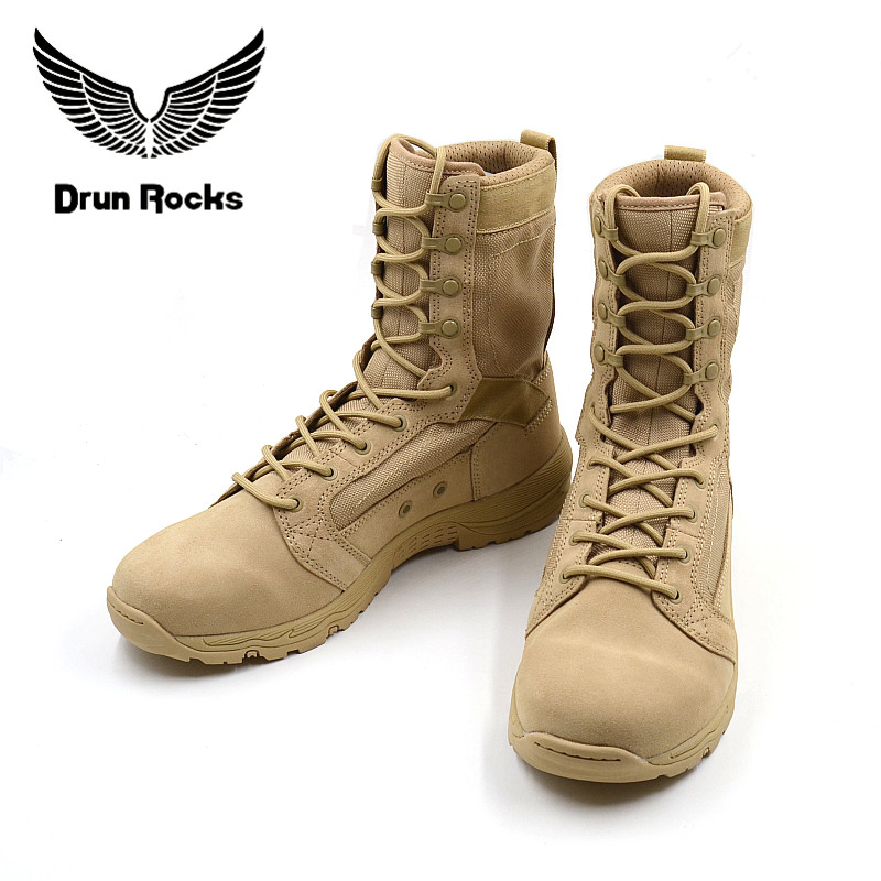 DrunRocks Summer Men Military Boots Quality Tactical Desert Shoes Combat Ankle Boot Army Shoes Breathable Genius