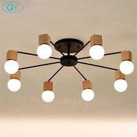 AC100-240V madeira led luzes de teto sala estar quarto das crianças lâmpada do teto moderna lustres iluminação plafon