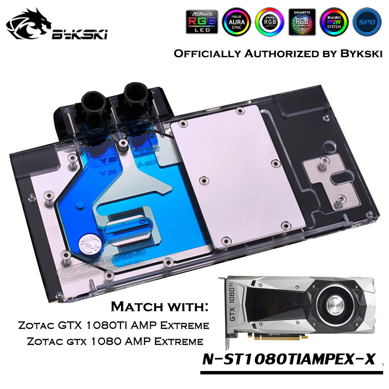 Bykski N-ST1080TIAMPEX-X Full Cover GPU Water Block For VGA ZOTAC Geforce GTX 1080 1080TI AMP Extreme Graphics Card Cooler image