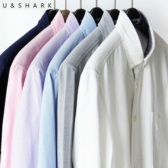 2016 U & Tubarão Dos Homens 100% Longa-Grampo de Algodão Camisas de Vestido Cor Sólida Manga Longa Camisas Casual Masculino Magro Fit Oxford Chemise Homme