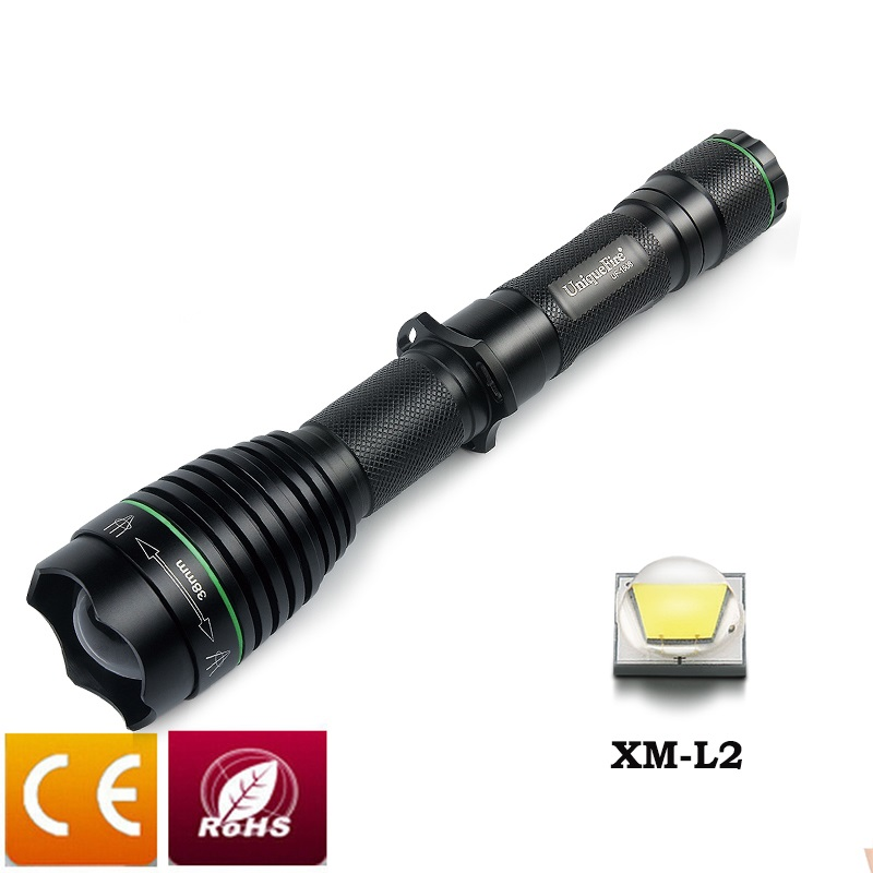 UniqueFire 1508 Ultra Bright CREE XML2 LED Tactical Flashlight 38mm Lens Focus Zoom 18650 Rechargeable Waterproof Lamp Torch bright adjustable focus 5 mode zoom cree xml t6 2000lm led camping flashlight 2 18650 rechargeable battery car dc charger