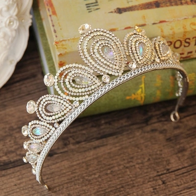 Free Shipping Luxurious Colorful Crystals Sheer Pearls Tiara Crown Stunning Jewelry Wedding Hair Accessories 15*6cm 31906