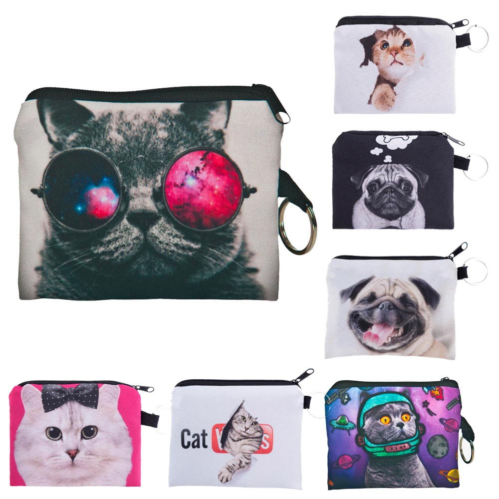 Luggage & Bags Beautiful New Cute Cat Face Zipper Case Coin Purse Female Girl Printing Coins Change Child Purse Makeup Bag Clutch Wallet Key Bags#h15 Soft And Antislippery Coin Purses