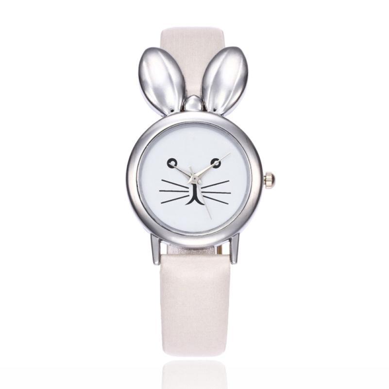 2017 OKTIME Retro Women Rabbit Ears Leisure Time Faux Leather Analog Simple Wrist Watch #829 peter rabbit nurser rhyme time
