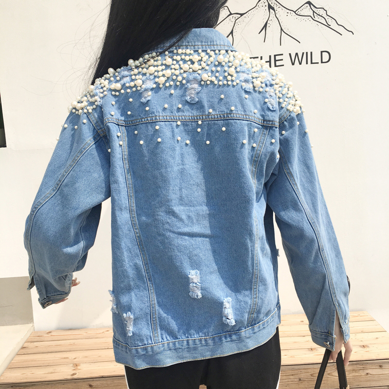 Boyfriend Pearls Denim Coat Ripped Holes Women Jean   Jackets   Spring Long Sleeve Lapel Collar Single Breasted   Basic     Jacket   2018