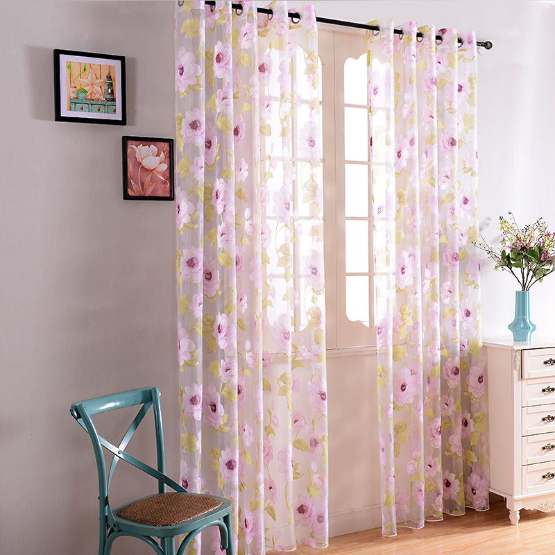 Pink Floral Sheer Curtains for Living Room Bedroom Elegant Modern Living  Room Curtains Window Tulle Voile Curtain Home Textile