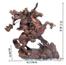 free shipping Chinese bronze Dragon Warrior Guan Gong/ Yu Riding horse Statue Figure 9.5″H