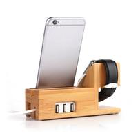 Bambu titular suporte de mesa para apple watch suporte docking carregador para iphone 6s ipad air 2 mini suporte de mesa com portas usb