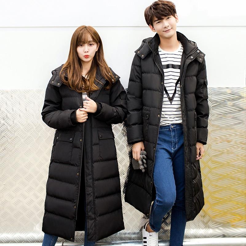 Макси пальто 2019 зимняя куртка женская и мужская пара выше колена длинная парка пуховое хлопковое пальто Jaquetas Feminino куртка с капюшоном C3520