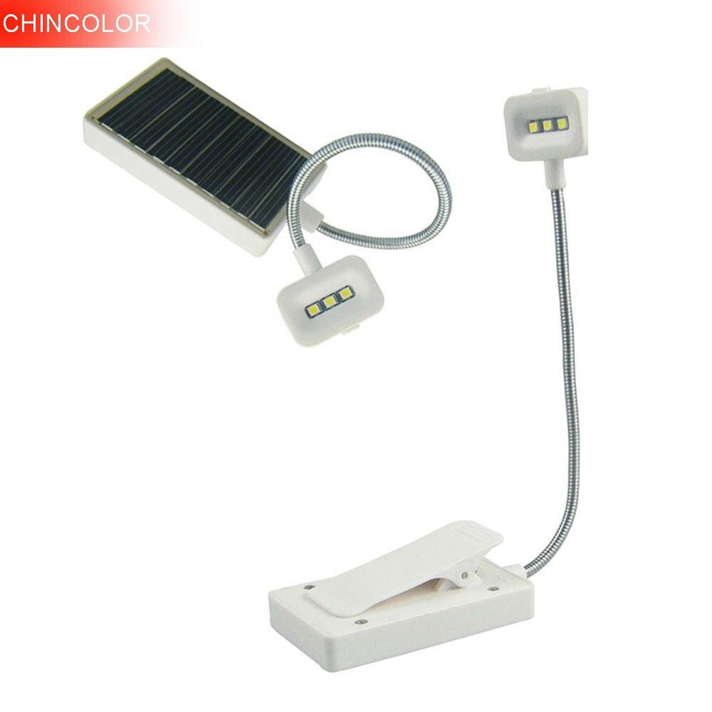 CHINCOLOR Flexible Desktop Reading Lamp Desk Lamp Solar Power Table Light Portable Clip on Book Light USB/Solar Charging DA