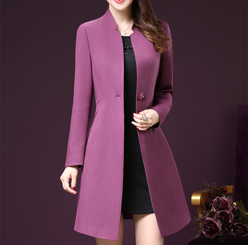 2019 Woman Clothing Solid Color Long-Sleeved Lady Long Windbreak Waist Slimming Women Pockets   Trench   Coats Plus Size 3XL 4XL