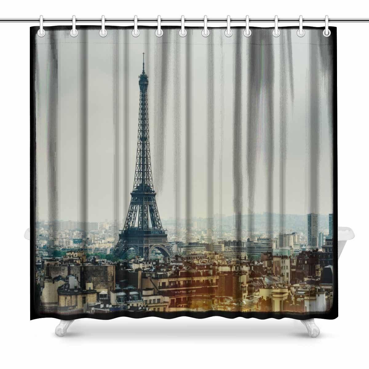 Aplysia De Eiffeltoren In Parijs Frankrijk Vintage Look Met Film Grain Darkroom Stijl Frame En Licht Lek Douchegordijnen Verlichten Van Warmte En Dorst.