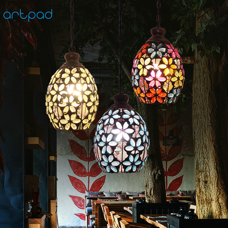 Vintage Nordic American Rustic Rural Stained Glass Flower Hanglamp Dining Room Table Led Lamp Pendant Light Fixtures For Bedroom Lights & Lighting