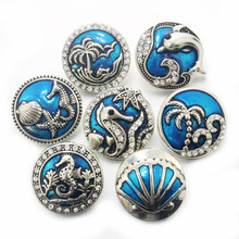 Стрелы жизни кристалл дельфин море 18 мм Металлические Кнопки наручные часы для женщин jewelry браслет DIY one direction 010617