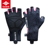 Santic Women Half Finger Road Bike Gloves Breathable Non Slip Cycling Gloves Professional Sports Bicycle Gloves