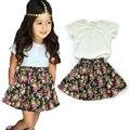 Girls Set Children Clothing 2016 Brand Girls Summer Clothes Set Lace Tshirts+Skirt Flowers Kids Tracksuit Girls Clothing Sets