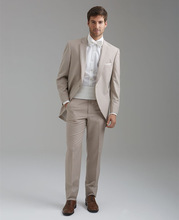 High Quality One Button Beige Groom Tuxedos Groomsmen Men's Wedding Prom Suits Custom Made (Jacket+Pants+Girdle+Tie) K:98