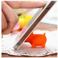 1Piece Mini Silicon Mobile Phone Tablet Holder Mount Port Dust Cover Pig Shape Color Random