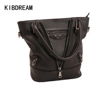 KIBDREAM 2016 New Fashion Zipper Top Handle Single Shoulder Bag Fashion Black Bucket Bag Handbag Women Leather Handbags