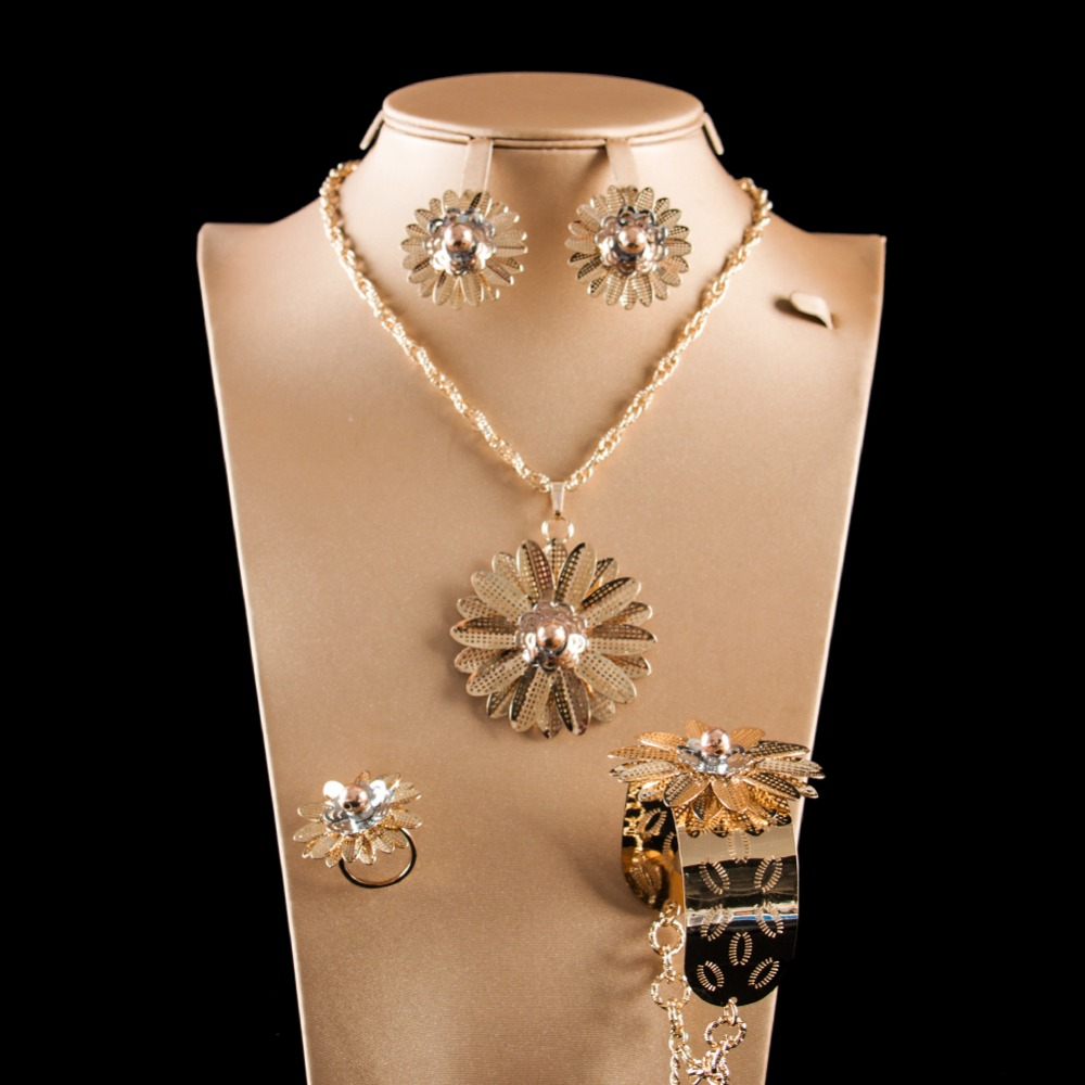 LAN PALACE gold color ladies copper alloy flower jewellery set earrings necklace ring bracelet free shipping