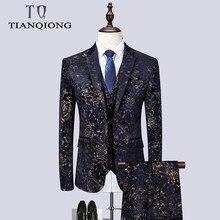 c42ceb999daf3 Floral (Blazers + pantalon + gilet) hommes 2019 tout nouveau costume de  luxe veste or velours fleur imprimé costumes de mariage .
