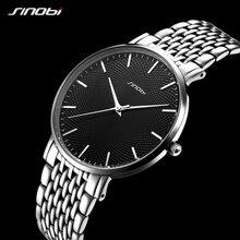 SINOBI Mens Ultra ince saatler en lüks marka erkek izle paslanmaz çelik kuvars saatı erkek saat Reloj Mujer